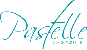 Blue logo with the words Pastelle Magazine