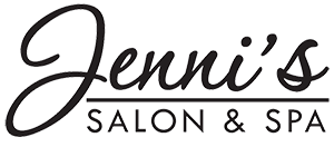 Black logo with the words Jenni's Salon and Spa