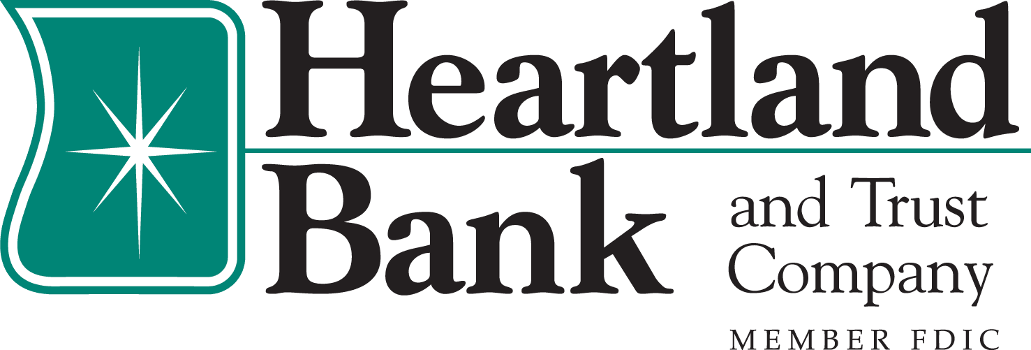 Green, white and black logo with the words Heartland Bank and Trust