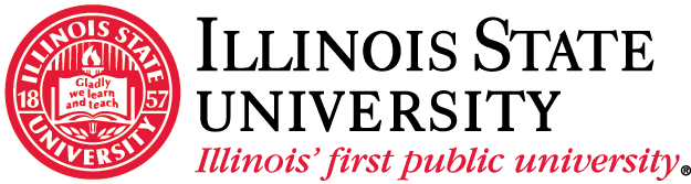 White and red logo with the words Illinois State University