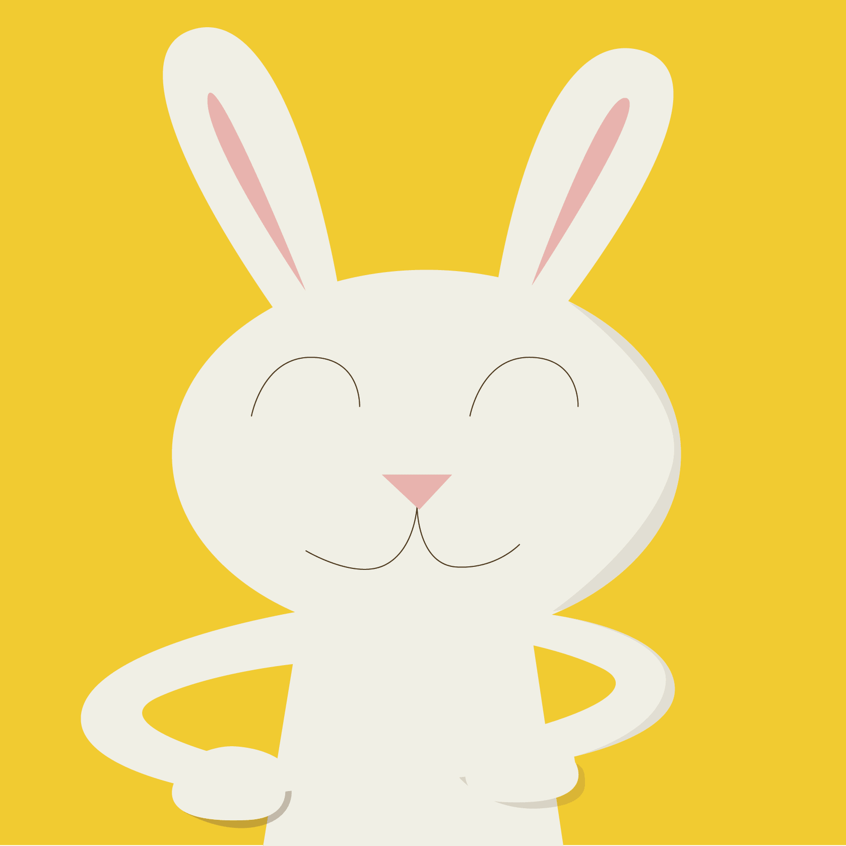 Yellow background with a cartoon white rabbit.