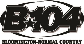 Black and white logo with the words B104.
