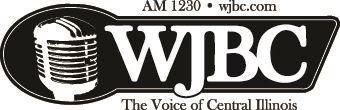 Black and white logo with the words WJBC1230.