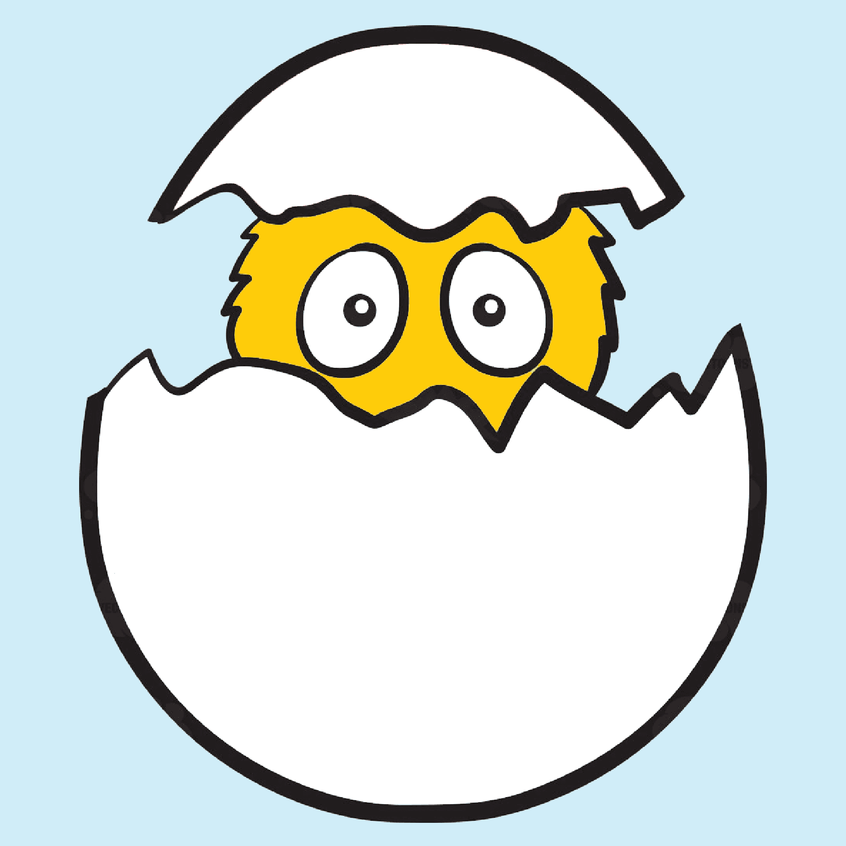 Cartoon image of a chick hatching from an egg.