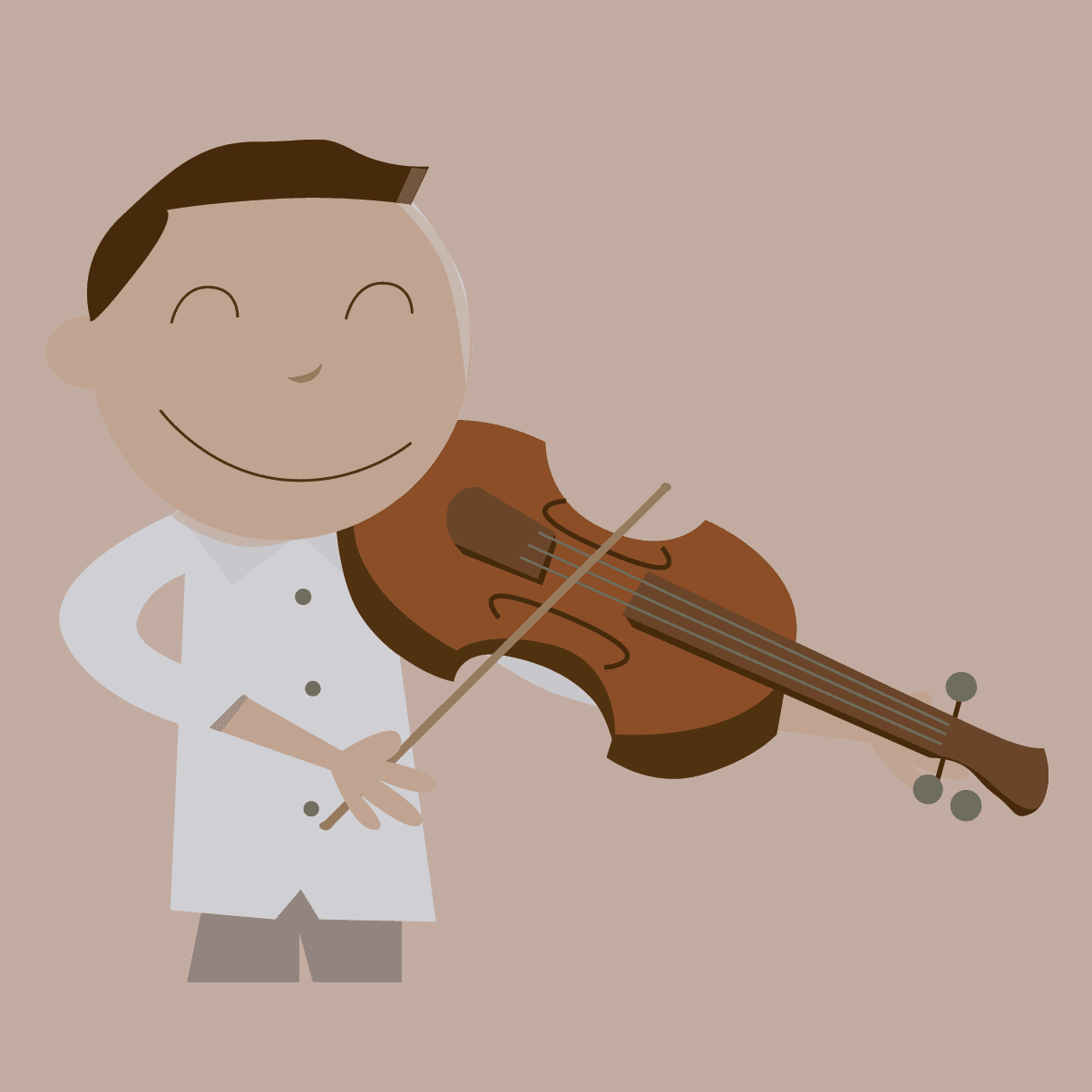 Cartoon image of a boy playing the violin.