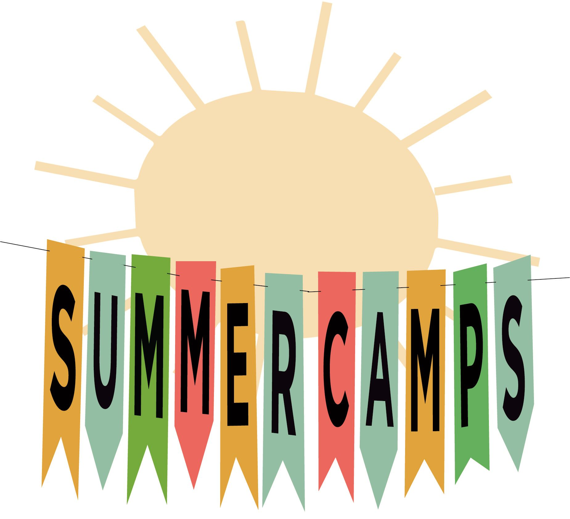 Photo of a sun and a banner saying &#34Summer Camps&#34