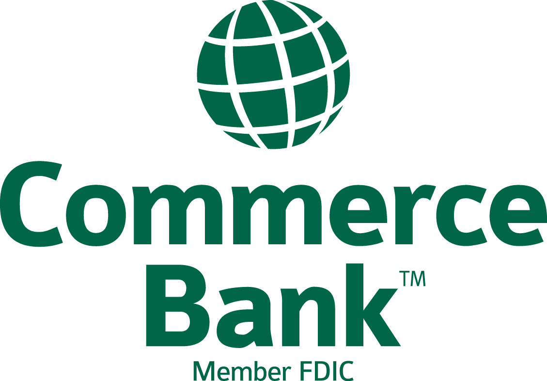 Commerce Bank Logo with green lettering and a green globe