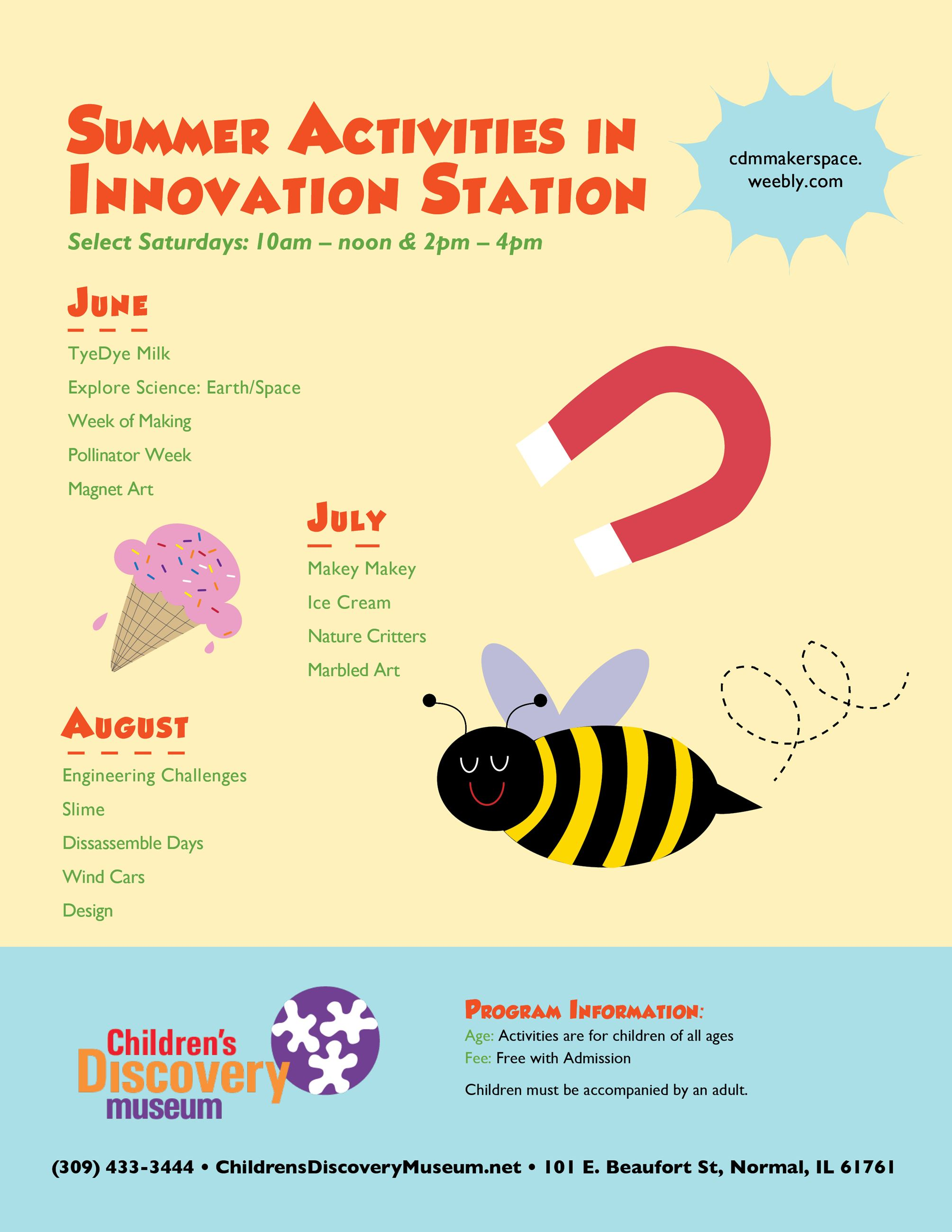Photo of Innovation Station Workshops summer activities that links to a PDF of this schedule