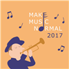 a cartoon man playing a trumpet and musical notes are coming out of the trumpet