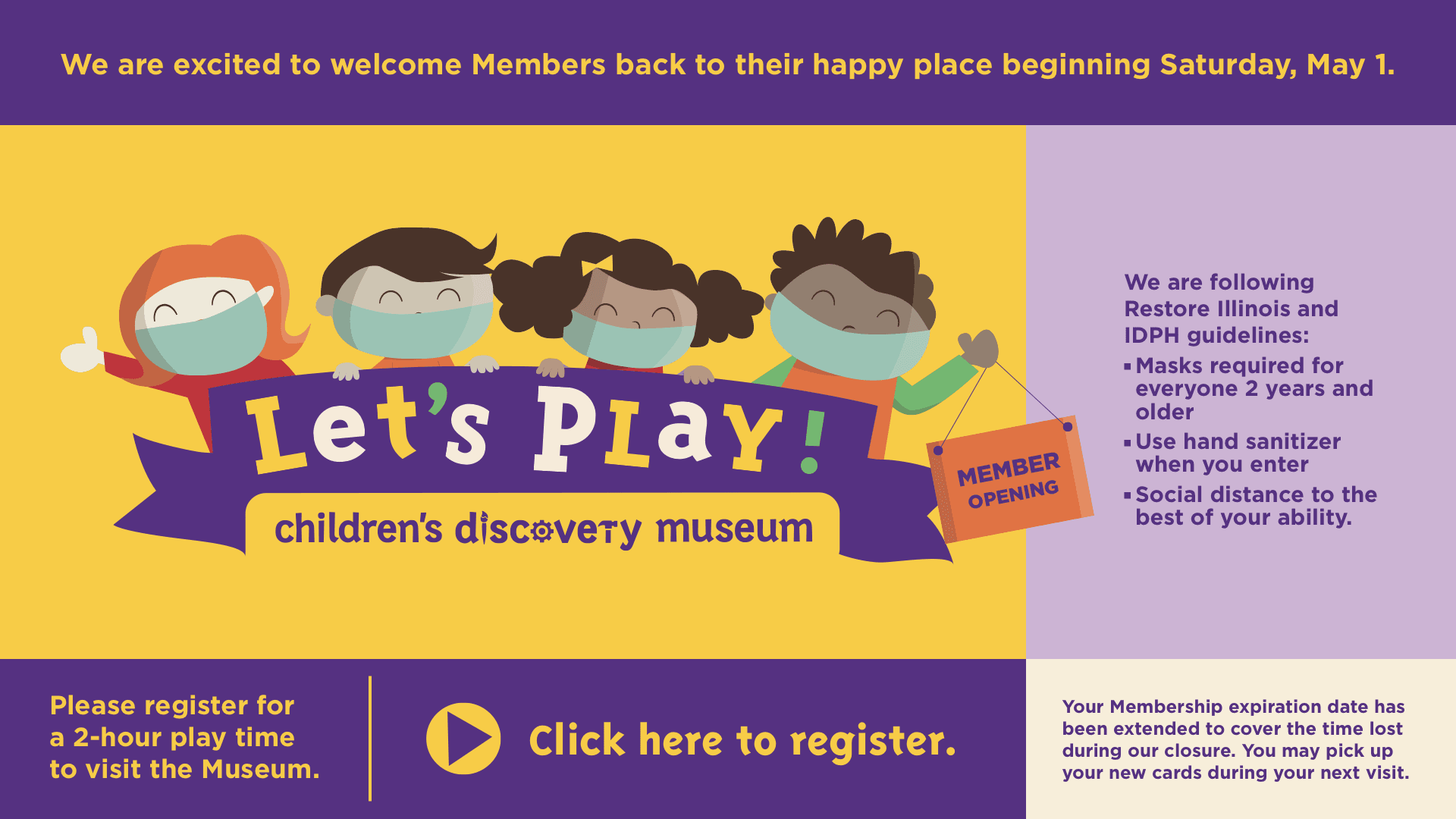 Let's Play Museum Reopening for members May 1