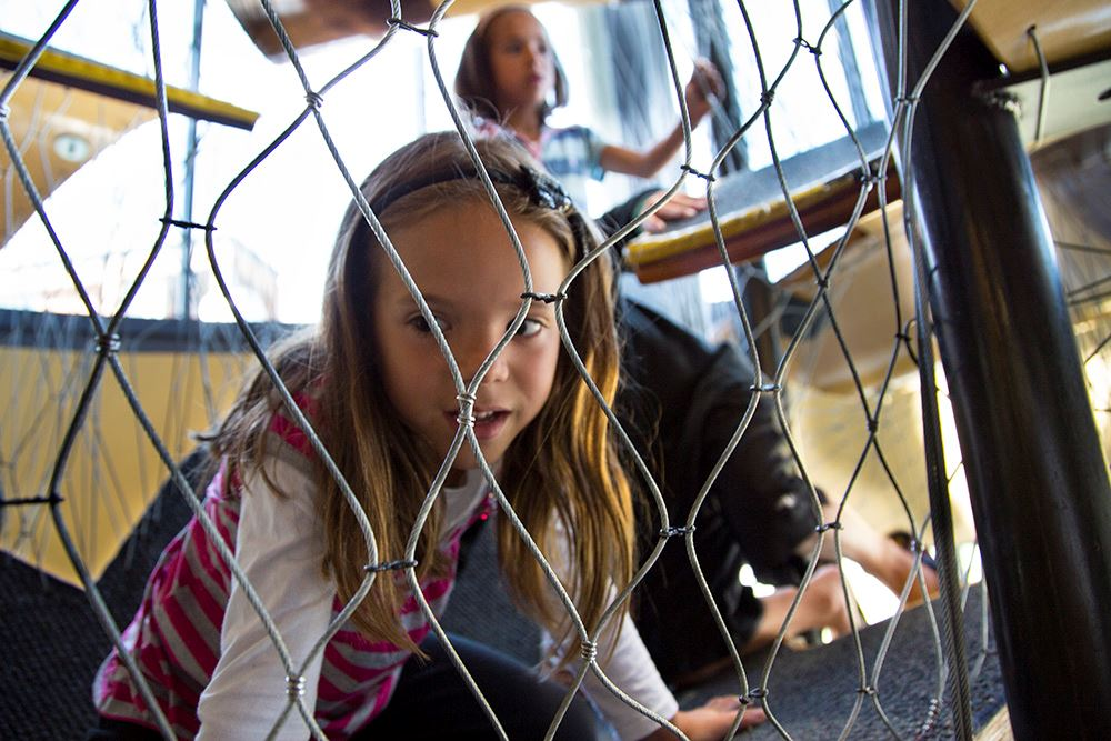 Kids examines play area