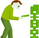 Cartoon image of a man playing Jumbo Jenga