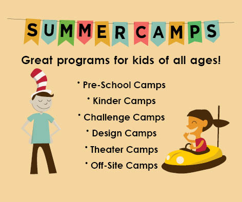 Cartoon image of kids promoting summer camps.
