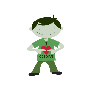 cartoon image of boy wearing an I heart CDM shirt.